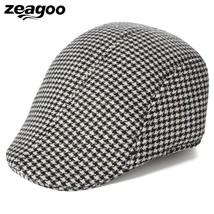 Unisex Tweed Cap Vintage Style Check Flat Cap Baker Boy Newsboy Hats Cot... - $10.83