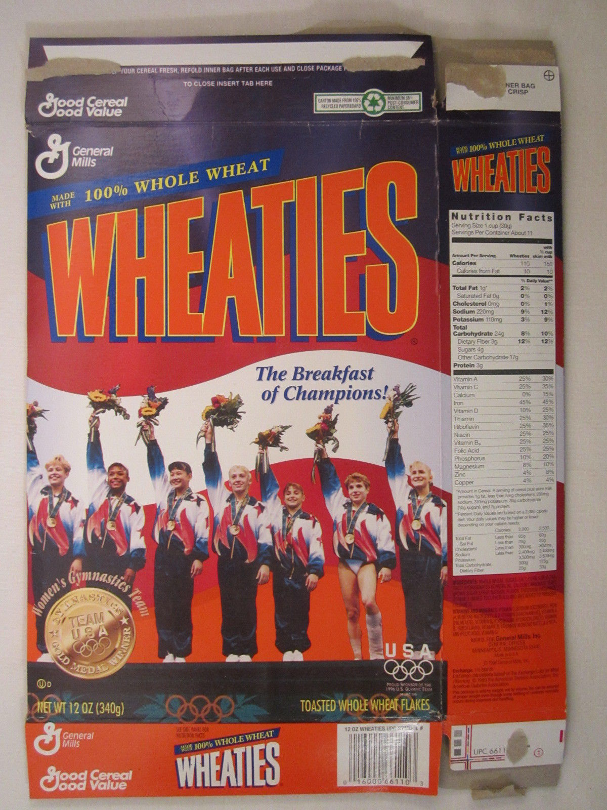 Primary image for MT WHEATIES Cereal Box 1996 12oz USA OLYMPIC TEAM Women's Gymnastics [G7E13a]