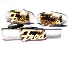 Fred- Vintage Silver with Gold Name Cufflinks & Tie Clip, Men's Retro ID... - $19.99