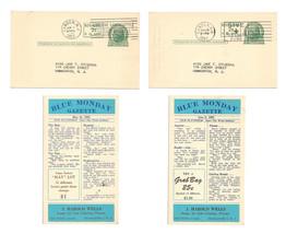 UX39 Postal Cards 1952 Blue Monday Gazette Stamp Dealer Advert Jokes 2 D... - $24.00