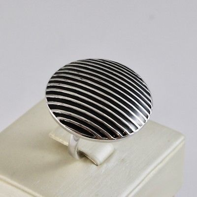 RING BAND 925 SILVER RHODIUM WITH ENAMEL BLACK STRIPED