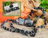 Snowflake Obsidian Set Chip Stone Necklace Pierced Earrings Black Grey