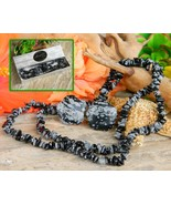 Snowflake Obsidian Set Chip Stone Necklace Pierced Earrings Black Grey - $29.95