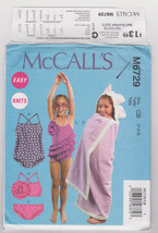 Pattern McCalls 6729 Girls Size 3 4 5 6 Swimsuit CoverUp Easy Knits, 2013 - $3.99