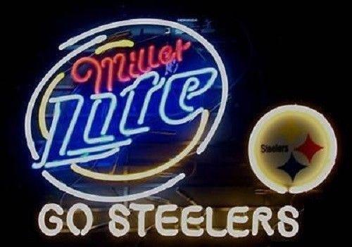 "New Pittsburgh Steelers Miller Lite Go Steelers Beer Neon Sign 24""x20"""