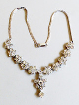 """Silver Tone Clear Brilliant color Rhinestones floral desig  Necklace Bridal 16""""L - $24.75"""