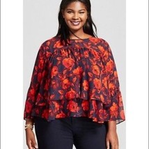 Womens A New Day Tiered Ruffled Chiffon Navy Floral (Rose) Print Blouse... - $5.93