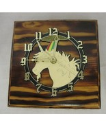 Wooden Unicorn Novelty Square Clock Battery Operated  - $28.70