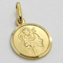 18K YELLOW GOLD ST SAINT SAN GIUSEPPE JOSEPH JESUS MEDAL MADE IN ITALY, 13 MM image 2