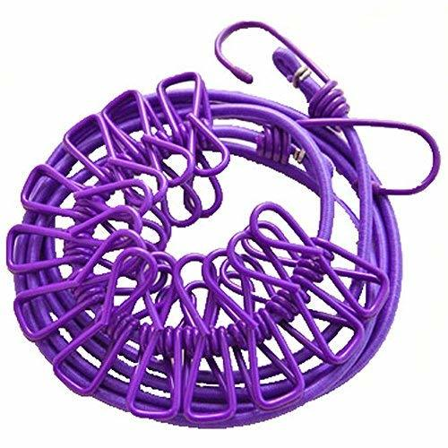 PANDA SUPERSTORE Clothesline Camping Travel, 12 Metal Clips, 1.98M, Purple