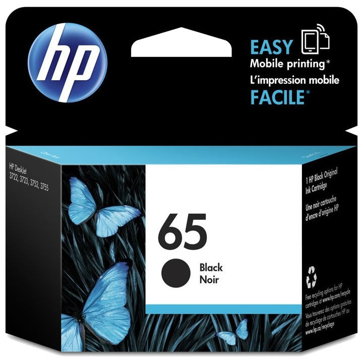 Primary image for Black Ink - HP 65 Standard Ink Cartridge (for DeskJet 2220/2255/3720/3755)