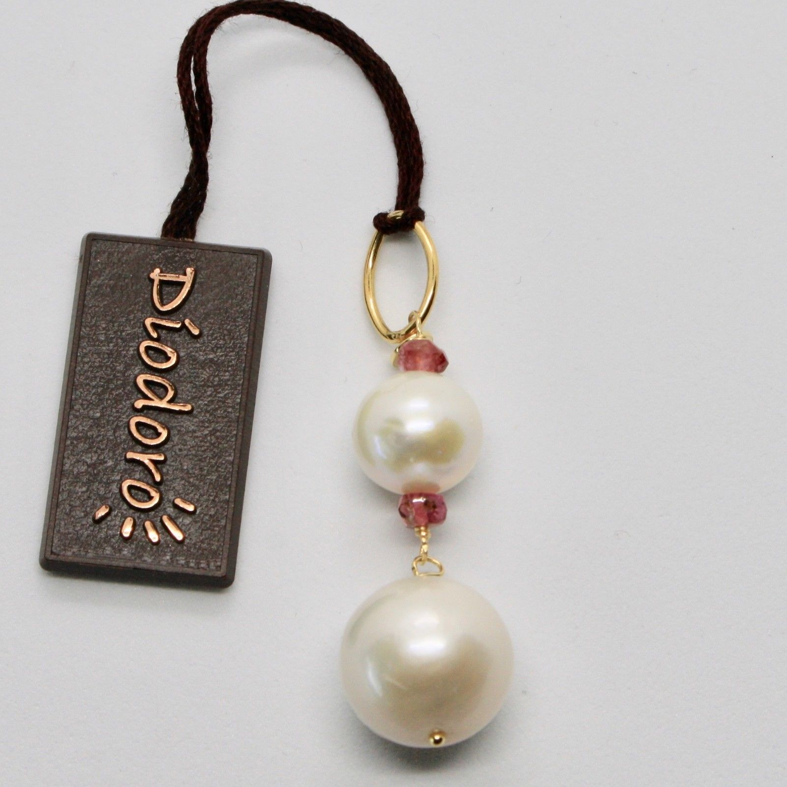 PENDANT YELLOW GOLD 18K WITH WHITE PEARLS FRESH WATER AND TOURMALINE PINK