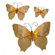 Eangee Home Designs Set of 3 White & Gold Butterflies Metal Wall Decorat... - €62,86 EUR