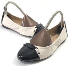 Michael Kors Scrunch Ballet Flats Cream/Black Slip On Shoes Women Size 7... - $59.98