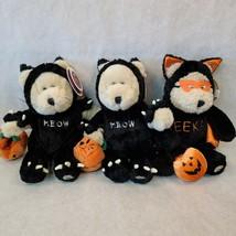 Starbucks 22nd Bearista 2x 2002 Meow & 2003 EEK Halloween w/Pumpkin Bags... - $44.54