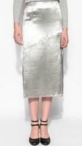 BB Dakota Woman's Metallic Silver Satin Midi Skirt, Size 0 - $23.50