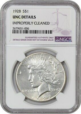 Primary image for 1928 $1 NGC UNC Details (Improperly Cleaned) - Peace Silver Dollar