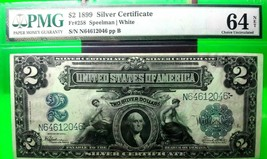 $2 DOLLARS SILVER CERTIFICATE 1899 FR 258 USA PMG LUCKY MONEY VALUE $2500 - $2,250.00
