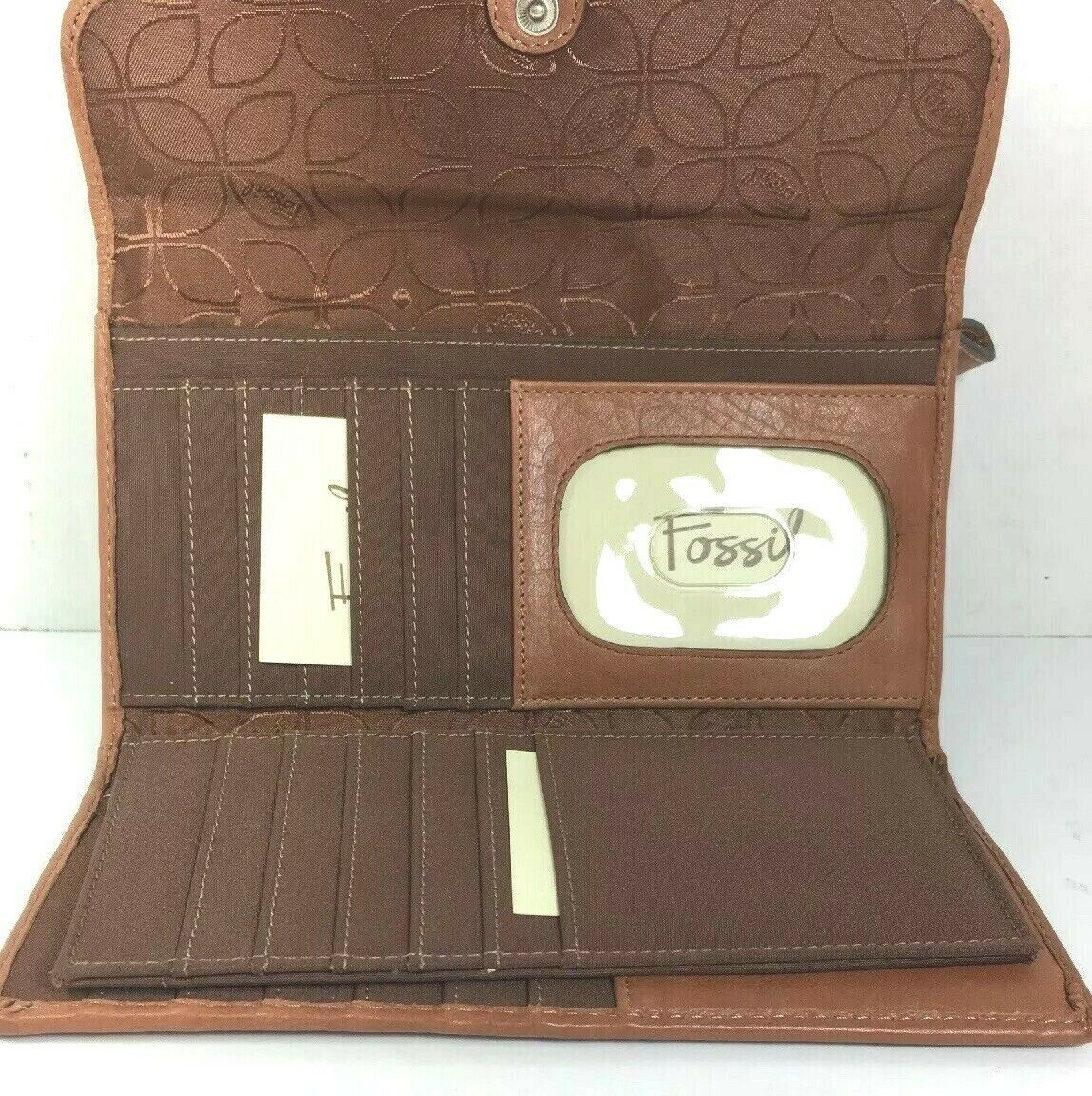 Fossil Brown Leather Clutch Wallet image 2