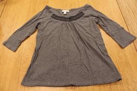 W11164 Womens Ann Taylor Loft Gray Boatneck Knit Top ¾ Sleeves, Smocking, Medium - $21.23