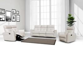 ESF 8501 Contemporary White Italian Leather Recliner Sofa Set 3 Pcs Modern