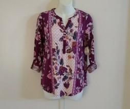 Style & Co Women's Long Roll Tab Sleeve Split Neck Floral Vivid Violet T... - $32.52