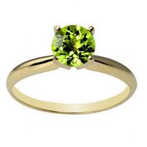 Damen Stilvoll 14K Festgelbgold 6mm Rund Peridot Solitaire Ring in Allen... - £110.35 GBP+