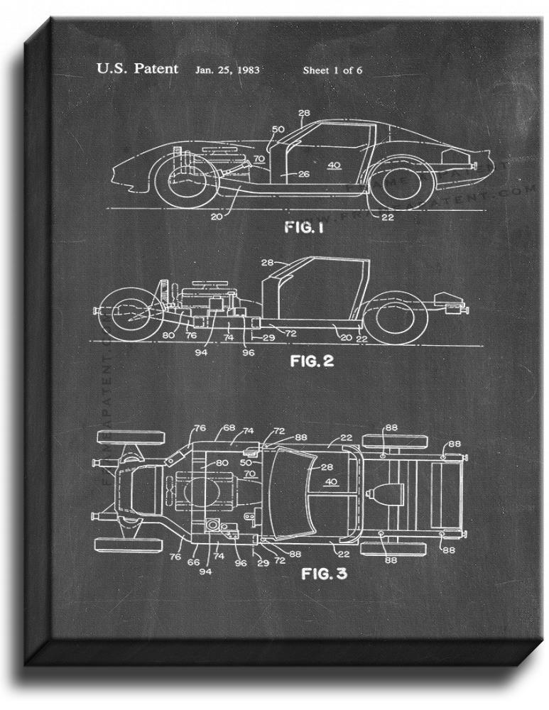 Primary image for Sports to Vintage Car Patent Print Chalkboard on Canvas