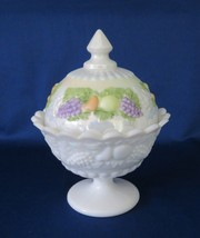 Westmoreland, Candy Box, Paneled Grape Pastel Fruits Vase, Mother of Pearl - $26.00
