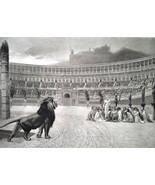 ROMAN ARENA Christian Martyrs Lion Out of Cage - 1888 Fine Antique Print - $21.60
