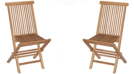 Teak Tiki Folding Chairs Patio Deck Set of 2 - $179.00