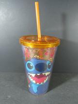 Disney Lilo And Stitch Traveler Tumbler 16 Oz New Stitch Floral Tropical Orange - $8.90
