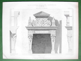 ARCHITECTURE PRINT : Germany Fireplace in Castle of Baden - $8.55