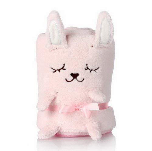 PANDA SUPERSTORE Super Soft Blanket for Baby Pink Sleepy Bunny Thin Blanket