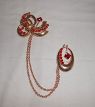 Chatelaine Brooch Pin Red Rhinestone Vintage Jewelry - $19.00