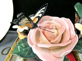 vintage Porcelain painted rose and Butterfly Figurine painted statue pin... - £38.67 GBP