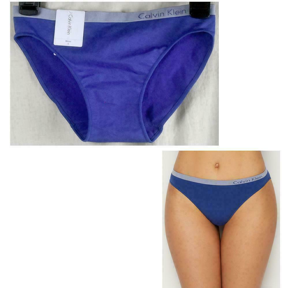 Calvin Klein Womens Pure Seamless Bikini QD3545-476 Shoreline Blue Panties NWT