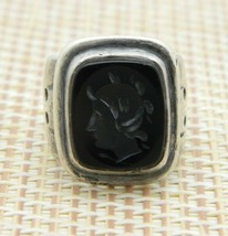 Sterling Silver Carved Onyx Greek Roman Cameo Ring Size 5 Vintage - $98.99