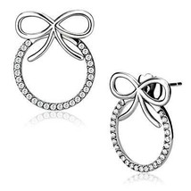 Women's Stainless Steel High polished CZ Clear Round Fashion Earrings - $19.95