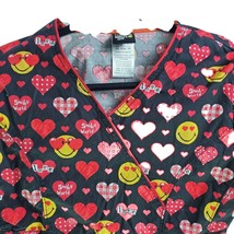 Code Happy Smiley World XS Red Hearts Smiley Faces Black Scrub Top - $15.83