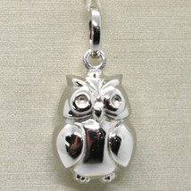 18K WHITE GOLD ROUNDED LUCKY OWL PENDANT CHARM 22 MM SMOOTH MADE IN ITALY image 1