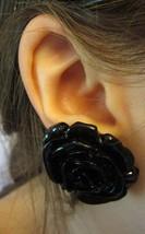 Vintage Black Ceramic Rose Flower Clip On Earrings - $14.99