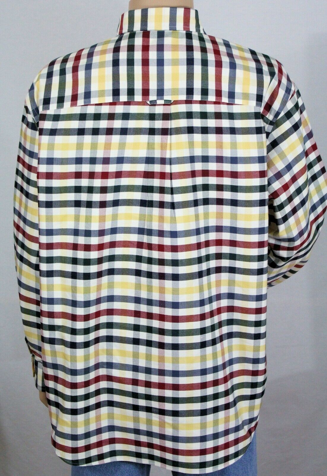 ROUNDTREE & YORKE Men's XL Easy Care Oxford Button Down LS Shirt w/2 Pockets EUC