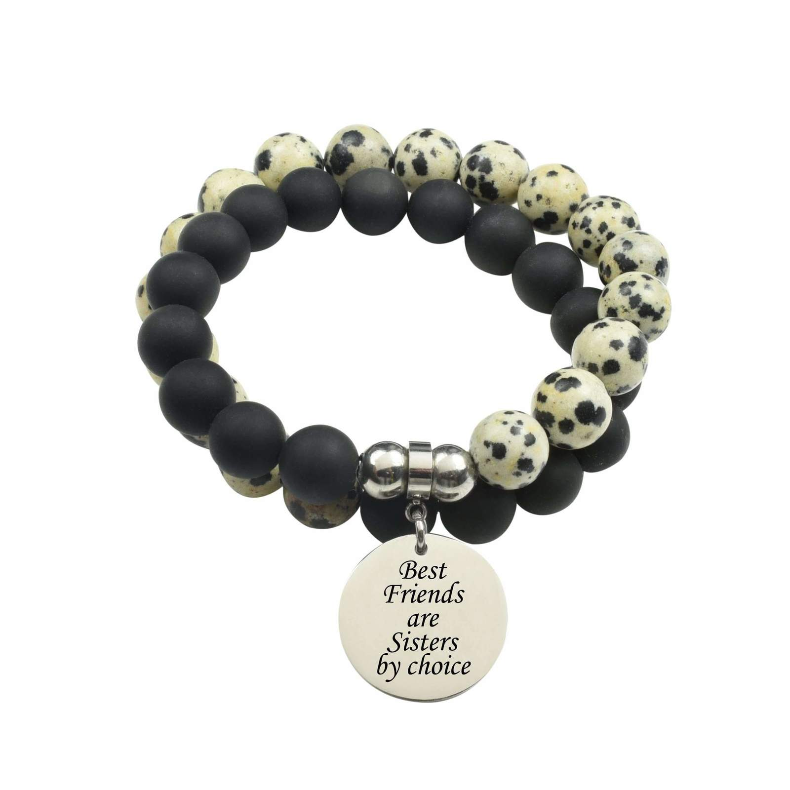 Primary image for Genuine 10Mm Double Wrap Obsidian Dalmatian Mix Bracelet - Best Friends