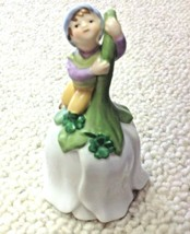 Elf Pixie on Flower Bell Vintage 1993 Porcelain 4 Leaf Clover - $9.85