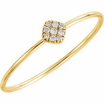 Diamond Petite Square Ring In 14K Yellow Gold (1/8 ct. tw.) - $265.00