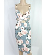 Windsor Gray Pink Poppy Floral Criss Cross Cut Out Wrap Bodycon Cocktail... - $20.00