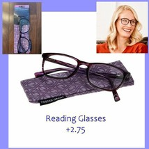 Premium Dark Purple Rectangular Reading glasses 53mm & Case Set Ship Fast USA NW - $35.99