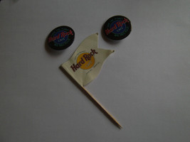 2 Hard Rock Cafe Pins Button Save the Planet We Recycle & Flag Food Pick  - $9.02