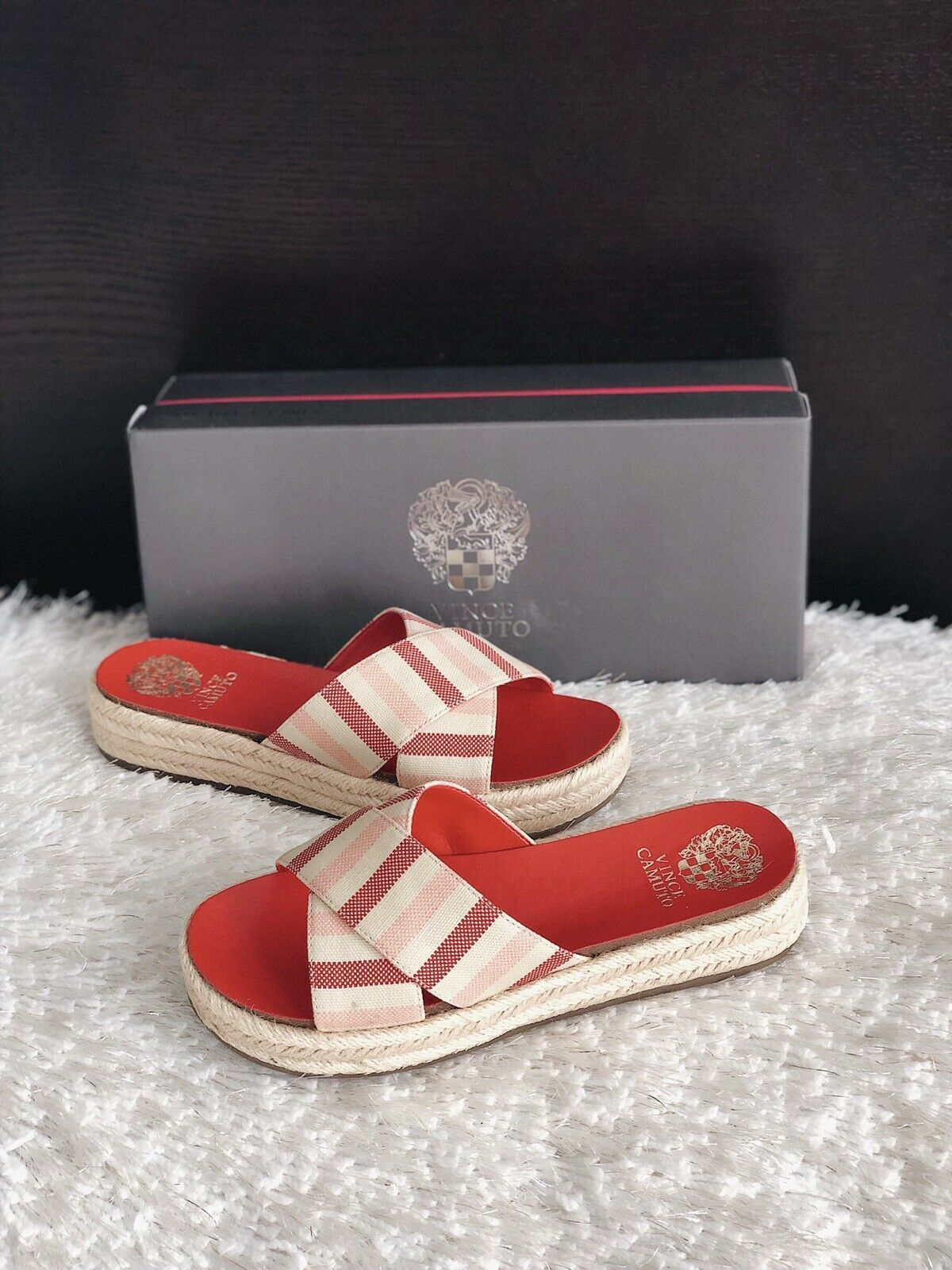 Primary image for ✨New VINCE CAMUTO Carran Platform Slide Sandals Red Stripe Women Size 7.5M $89
